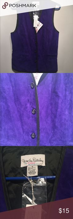 NWT DVF vest purple leather medium vintage NWT DVF vintage purple leather vest.  Button front with nylon back, adjust waist.  Medium Diane von Furstenberg Jackets & Coats Vests