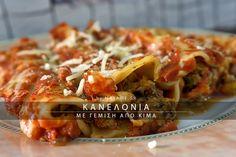 Κανελόνια με γέμιση από κιμά. Ένα από τα νοστιμότερα πιάτα της μεσογειακής κουζίνας. Συνδυασμός ζυμαρικών, σάλτσας και κιμά που δίνουν ένα γευστικότατο αποτέλεσμα! Beef, Chicken, Recipes, Food, Meat, Rezepte, Essen, Ox, Ground Beef