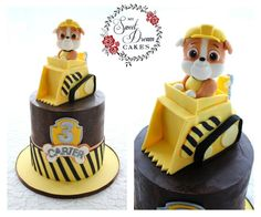 Paw Patrol pup Rubble in all his cuteness. I'm pretty sure he's the real star of the show Paw Patrol Birthday Cake, 3rd Birthday Cakes, Paw Patrol Party, 4th Birthday, Rubble Paw Patrol Cake, My Dream Cake, Cumple Paw Patrol, Cakes For Boys, Pretty Cakes