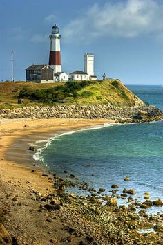 The Montauk Point Light is a lighthouse located at the easternmost point of Long Island, in the hamlet of Montauk in the Town of East Hampton in Suffolk County, New York