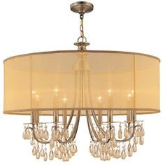Hampton Antique Brass Eight-Light Chandelier with Etruscan Smooth Oyster Crystal