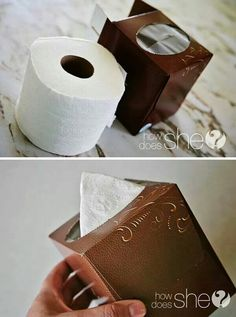 Empty Kleenex box and a roll of toilet paper = pop up tissue. Kleenex Box Crafts, Tissue Box Crafts, Tissue Boxes, Paper Pop, Arts And Crafts, Diy Crafts, Up Styles, Cool Diy, Toilet Paper