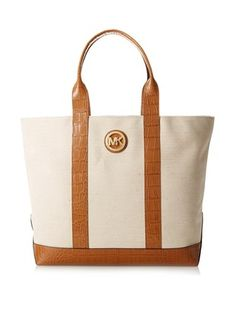 20% OFF MICHAEL Michael Kors Women's Fulton Canvas Large Tote, Ecru/Luggage