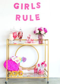 Galentine's Day bar cart