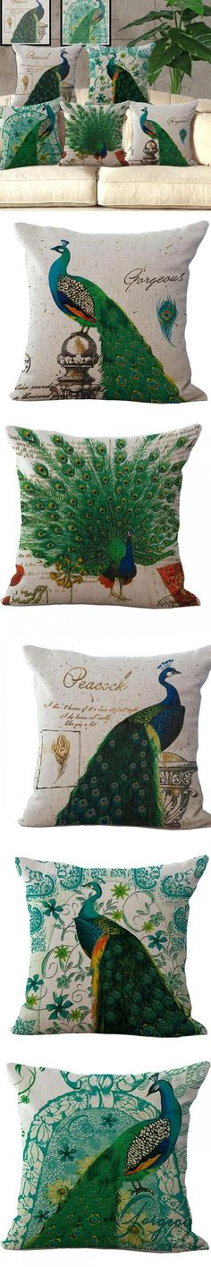 Elegant Green Peacock Cushions For Sofas Furnishing Style Home Pillow Decoration Personality Cushions Home Decor $8.99
