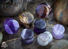 """Amethyst stone plug - size 1/2"""" - a girl can dream. Help me make my big ol' ear dreams come true."""
