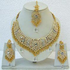 Off White Studded Imitation Necklace Set