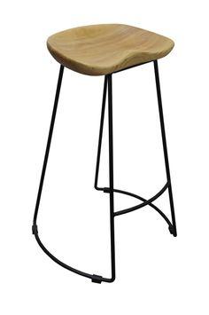 Massey Vintage Kitchen Stool Timber Rustic Seat Metal Legs 72cm Natural