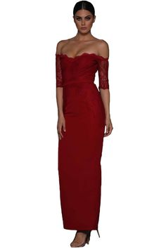 Modern Red Sheer Lace Sleeve Off Shoulder Her Fashion Maxi Dress Half Sleeve Dresses, Dresses With Sleeves, Sexy Dresses, Evening Dresses, Latest Fashion Design, Fashion Sale, Woman Fashion, Ladies Fashion, Lace Maxi