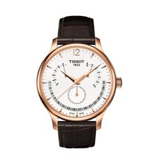 Shop Tissot - Tradition Rosegold Perpetual Calendar w/Brown Strap at Peter's of Kensington. View our range of Tissot online. Why in the world would you shop anywhere else for Tissot? Le Locle, Junghans, Perpetual Calendar, Gold Bands, Stainless Steel Case, Luxury Watches, Rose Gold Plates, Watches For Men, Men's Watches