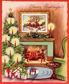Bright and merry fireside at Christmas.