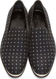 Alexander McQueen Navy Jacquard Dot Print Loafers