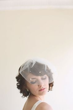 Blusher Veil, Scattered Pearls Bridal Veil, Wedding Veil - MADE TO ORDER- Style 1114 on Etsy, $125.00