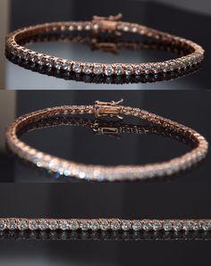 Diamond 10976: 14K Rose Gold Over Sterling Silver Round Lab Diamond Tennis Bracelet 3.00Ct. -> BUY IT NOW ONLY: $45.99 on eBay!