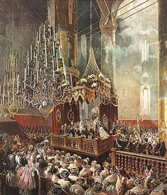 Painting by Mihály Zichy of the coronation of Emperor Alexander II and the Empress Maria Alexandrovna, which took place on 26 August/7 September 1856 at the Dormition Cathedral of the Moscow Kremlin. The painting depicts the moment of the coronation in which the Emperor crowns his Empress