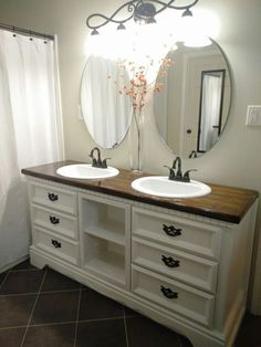 Diy Dresser Turned Into Double Sink Vanity Cheap Bathroom Vanities Bathroom Vanity Makeover