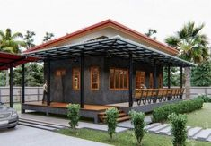 Modern Bungalow House Design, Wood House Design, Modern Small House Design, Village House Design, Simple House Design, My Home Design, Pictures For Kitchen Walls, House Architecture Styles, Balcony Railing Design