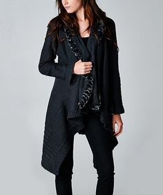 Another great find on #zulily! Charcoal Ruffle Open Cardigan by Esley Collection #zulilyfinds