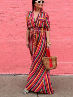 Boho Embroidery Boho Striped Button Down Maxi Dress - Step out in total boho style in this gorgeous button down striped maxi dress! Made from a ultra-comfy cotton blend. Striped Dress Outfit, Striped Maxi Dresses, Black Maxi Dress Outfit Ideas, Mode Hippie, Mode Boho, Maxi Shirt Dress, Maxi Dress With Sleeves, Maxis, Plus Dresses