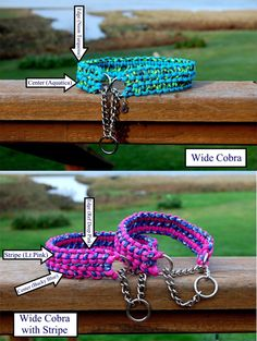 Wide Cobra or Wide Cobra with Stripe Half Check Paracord Dog Collar