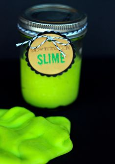 Glow-in-the-Dark Slime | A Halloween party isn't a Halloween party without some glow-in-the-dark slime. This project is great to do with kids; give them some cute jars for packaging and they can take it home as a party favor! Maker Crate