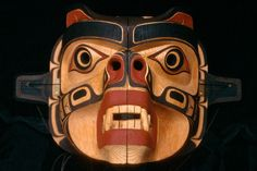 Bear mask, carved by Richard Hunt, a contemporary Kwakiutl artist. According to Kwakiutl belief, when dancers are wearing these masks, they are transformed into the spirits represented on the mask.