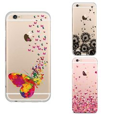 Dandelion Butterfly Feather TPU transparent soft silicone box For iPhone 6 6s case tpu silicone protection case