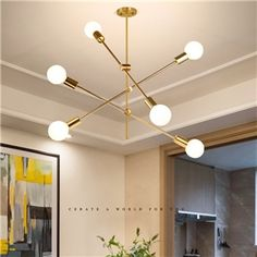 Hängelampe Modern Magische Bohne Design 6 flammig in Gold - Small Room Designs Simple Chandelier, Chandelier In Living Room, Living Room Lighting, Bedroom Lighting, Room Lights, Ceiling Lights, Design Industrial, Modern Magic, The Principal's Office