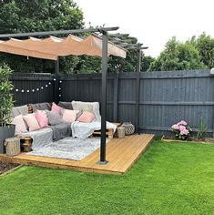 - Backyard Pergola DIY - Pergola with Garag ceiling ., - Backyard DIY Pergola - Pergola with roof garage doors - Pergola DIY Wedding Decorations When historic with thought, your pergola has become suffering from a bit of a current. Backyard Seating, Backyard Patio Designs, Seating Area In Garden, Outside Seating Area, Small Yard Landscaping, Pergola Designs, Outdoor Seating, 1001 Pallets, Euro Pallets