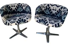 Ikat Midcentury Swivel Chairs