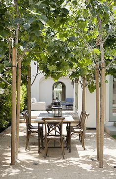 DISC Interiors : on Domaine Home. June 2014 : Santa Monica Home Tour: A Light, Bright, and California Cool Space Outdoor Rooms, Outdoor Dining, Outdoor Gardens, Outdoor Decor, Dining Area, Outdoor Seating, Outdoor Patios, Outdoor Kitchens, Dining Chairs