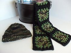 Hat and Scarf  Adult  Large  Green Black and by SnugableTouches, $12.00