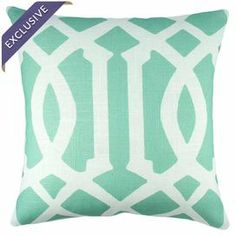 "Trellis-print pillow. Handmade in the USA.   Product: PillowConstruction Material: Linen blendColor: Mint and whiteFeatures:  Envelope enclosureMade in the USAInsert includedHandmade by TheWatsonShopExclusive Joss & Main product Dimensions: 16"" x 16""Cleaning and Care: Dry clean only"