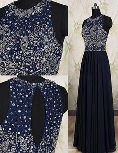 navy prom dress, long prom dress, beaded prom dress, charming prom dress, cheap evening dress 2017, BD140