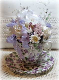 Purple Teacup Pincushion-teacup, roses, teacup pincushion, silks roses, ribbons, cottage, home decor, decoration, handmade, pins, beads, pearls,