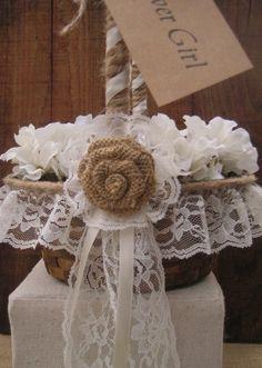 Rustic Flower Girl Basket Rustic Wedding burlap by goodbuyNoraJean, $29.95