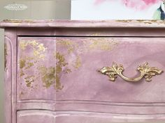 do this n the orange dresser ---?Annie Sloan Gold Size and Chalk Paint® was used in this inspired watercolor and gilding furniture technique by Annie Sloan Stockist Originally Worn in Macon, MO. Annie Sloan Painted Furniture, Pink Furniture, Girls Bedroom Furniture, Annie Sloan Paints, Shabby Chic Furniture, Furniture Projects, Furniture Makeover, Furniture Decor, Redoing Furniture