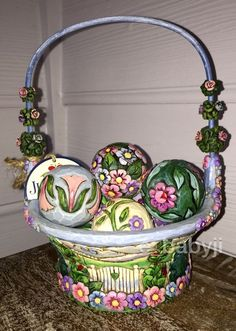 "Jim Shore 2009 ""Blossoms of Spring Basket""Set 8 7 Decorated Balls Enesco #400923  ***SOLD*** Please visit e_babyji for more great items."