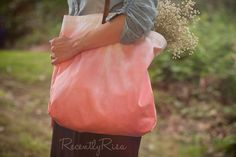 Coral Ombre Market Tote Dip Dye Market Tote Free by RecentlyRisa, $25.00