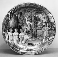 Dish with Diana and Nymphs Bathing - earthenware with tin glaze (maiolica) and luster decoration - 1540 (Renaissance)