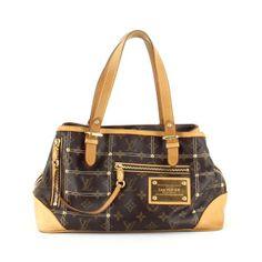 Ravissant sac Louis Vuitton, Edition limitée, en toile Monogram, cuir  naturel et clous cf9a99fc856