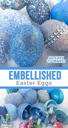 Embellished Easter Eggs - Take plastic Easter Eggs from Plain to Spectacular with our Easter Egg decorating tutorial. They are so easy to make and they will be your favorite Easter decorations. Pin this fabulous Easter Decoration idea for later and follow us for more great Easter Craft ideas.  #EasterCrafts #EasterEggs #EasterDecorations #EasterIdeas