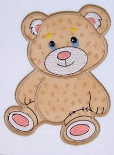 Applique Teddy Bear  Machine  Embroidery Design in 3 sizes | LinleysDesigns - Patterns on ArtFire
