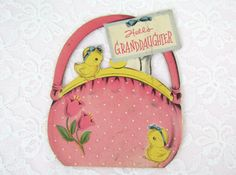 Vintage Easter Card Little Girls Pink Purse with little Chick