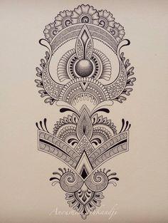 Henna Design for Shin or Forearm Anoushka Irukandji 2015 SHOP: www.irukandjidesigns.bigcartel.com