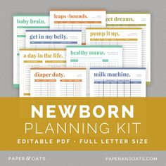 Newborn Baby Planning Kit — Paper + Oats – feeding log, diaper changes, sleep schedules, breastmilk pumping log, storage guides, introducing solid food, babysitter notes, appointment reminders, growth charts, healthy mom and baby trackers, daily newborn log, new mom to do list, printable editable PDF planner organizer