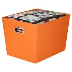 """Stackable orange storage bin.   Product: Storage binConstruction Material: Polyester and cardboardColor: OrangeFeatures: StackableDimensions: 12.6"""" H x 18.75"""" W x 14.37"""" DCleaning and Care: Wipe  clean with damp cloth"""