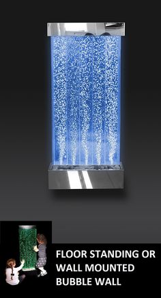 """Sensory LED Bubble Wall - 4 Foot """"Tank"""" Indoor Wall Mounted Water Feature with Remote Control - Large Floor Lamp with 8 Changing Lights Colors - Stimulating Home and Office Décor - by Playlearn"""