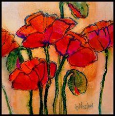 Poppy Sketch, 6x6 original acrylic  Carol Nelson Fine Art