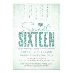 Sparkly Glitter Sweet Sixteen Party Invitation